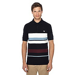 Fred Perry - Navy striped pique polo shirt