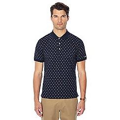 Ben Sherman - Navy geometric floral print polo shirt