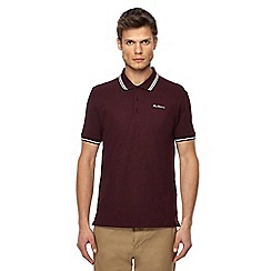 Ben Sherman - Dark red embroidered logo tipped polo shirt