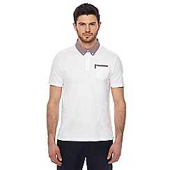 Ben Sherman - White checked trim polo shirt
