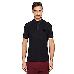 Fred Perry - Black waffle texture polo shirt