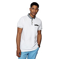 Jacamo - White contrast collar polo shirt