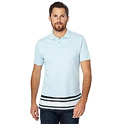 Jacamo - Light blue striped hem polo shirt