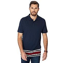 Jacamo - Navy striped hem long length polo shirt