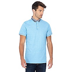 Jacamo - Blue checked trim polo shirt
