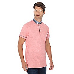 Jacamo - Red checked trim long length polo shirt