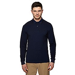 Fred Perry - Big and tall blue embroidered logo long sleeve polo shirt