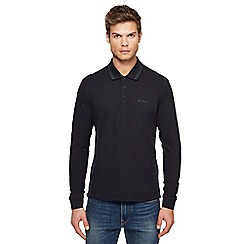 Ben Sherman - Big and tall black embroidered logo long sleeve polo shirt