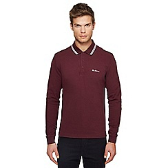 Ben Sherman - Dark red embroidered logo long sleeve polo shirt