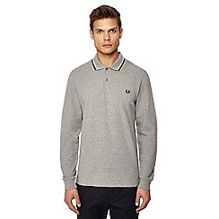 Fred Perry - Grey embroidered logo long sleeve polo shirt