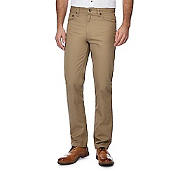 Ben Sherman - Big and tall taupe corduroy straight fit bedford jeans