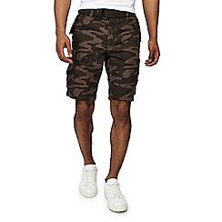 Jacamo - Green 'Axel' camouflage cargo shorts