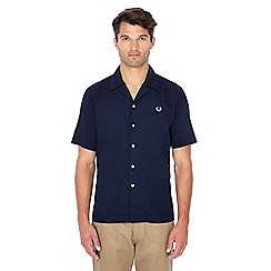 Fred Perry - Navy pique textured short sleeve shirt