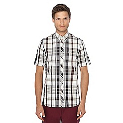 Fred Perry - Dark red checked button down collar short sleeve shirt