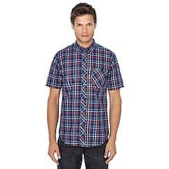 Ben Sherman - Big and tall navy checked button down collar short sleeve shirt