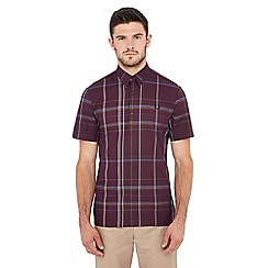 Fred Perry - Maroon checked short sleeve regular fit shirt