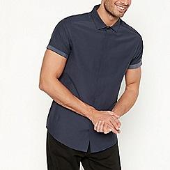 Jacamo - Big and tall navy short sleeve muscle fit shirt