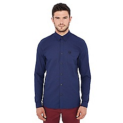 Fred Perry - Dark blue long sleeve regular fit Oxford shirt