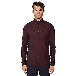 Fred Perry - Maroon long sleeve regular fit Oxford shirt