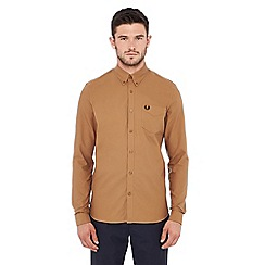 Fred Perry - Tan long sleeve regular fit Oxford shirt