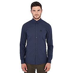 Fred Perry - Dark blue gingham print long sleeve regular fit shirt