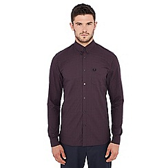 Fred Perry - Maroon gingham print long sleeve regular fit shirt