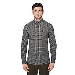 Fred Perry - Black gingham print long sleeve regular fit shirt