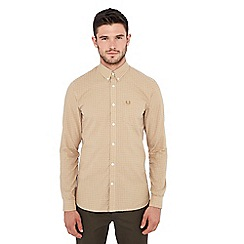 Fred Perry - Tan gingham print long sleeve regular fit shirt