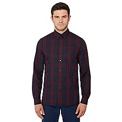 Fred Perry - Dark red tartan check long sleeve regular fit shirt