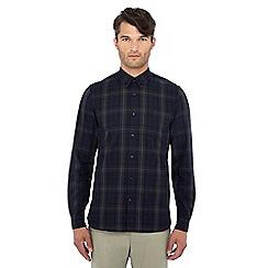 Fred Perry - Navy tartan print long sleeve slim fit shirt