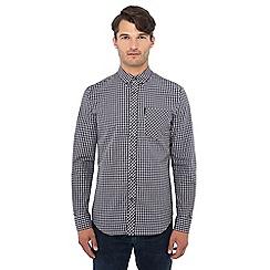 Ben Sherman - Big and tall dark blue micro check long sleeve shirt