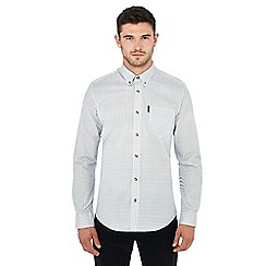 Ben Sherman - White dogstooth print long sleeve regular fit shirt