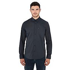 Ben Sherman - Khaki dogstooth print long sleeve regular fit shirt