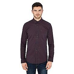 Ben Sherman - Navy geometric print long sleeve regular fit shirt