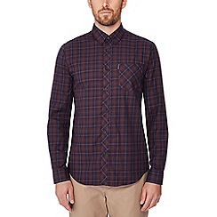 Ben Sherman - Dark red checked long sleeve regular fit shirt