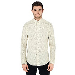 Ben Sherman - Off white scattered leaf print long sleeve regular fit shirt