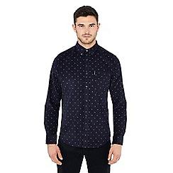 bc52f930fe Ben Sherman - Big and tall navy geometric print long sleeve regular fit  corduroy shirt
