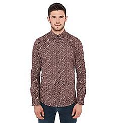 Ben Sherman - Dark red floral print long sleeve regular fit shirt