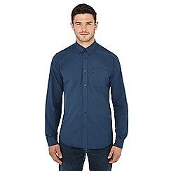 Ben Sherman - Navy mini gingham check long sleeve shirt