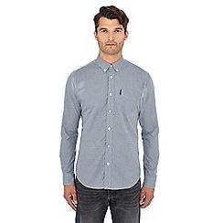 Ben Sherman - Blue mini gingham check long sleeve shirt