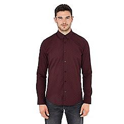 Ben Sherman - Dark red geometric print long sleeve regular fit shirt