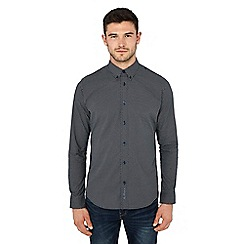 Ben Sherman - Navy micro daisy print long sleeve regular fit shirt