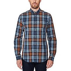Ben Sherman - Navy checked long sleeve regular fit shirt