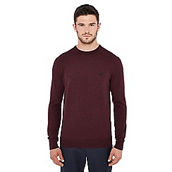 Fred Perry - Dark red embroidered logo wool jumper
