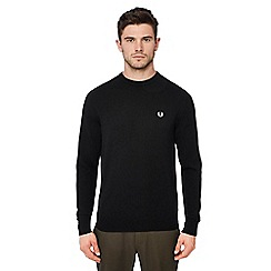 Fred Perry - Black embroidered logo wool jumper