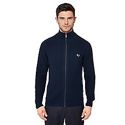 Fred Perry - Navy rib knit zip though cardigan
