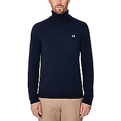 Fred Perry - Navy embroidered logo roll neck wool jumper