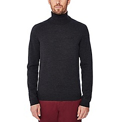 Fred Perry - Dark grey embroidered logo roll neck wool jumper