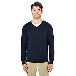 Ben Sherman - Navy V-neck cotton jumper