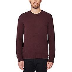 Ben Sherman - Dark red basketweave knit cotton jumper